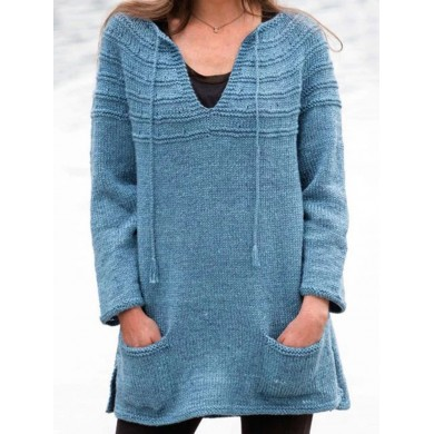 Long Sleeve V-neck Solid Causal Sweaters
