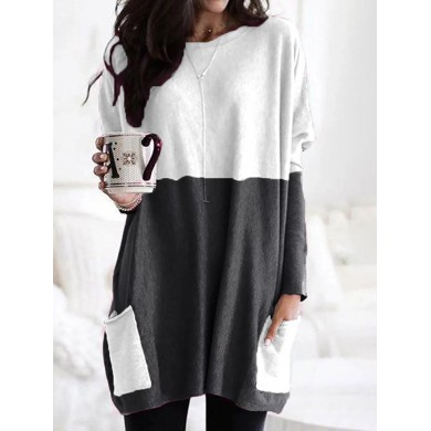 Women Long Sleeve Pockets Loose Pullover Sweaters