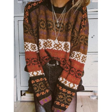 Christmas Print Crew Neck Long Sleeve Pullover Sweaters