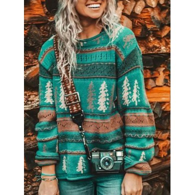 Christmas Print Causal Pullover Round Neck Sweaters