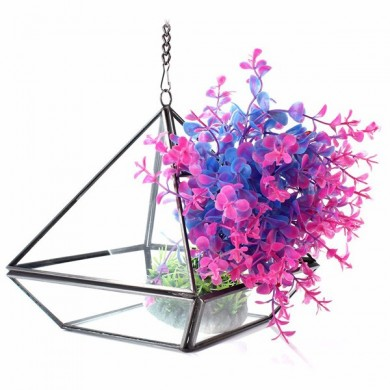Triangle Greenhouse DIY Micro Landscape Glass Terrarium Succulent Plants Flower Pot