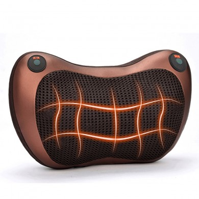 2000mAh 3 Speed Back Neck Massager Massage Pillow Heat Deep Tissue Double Button Control Pillow Electric Massager