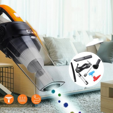 4-in-1 Car Handheld Vacuum Cleaner with LED Light - 12V/120W 4500Pa Portable Vehicle Vacuum