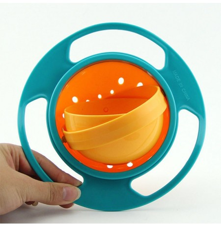 Creative Baby Feeding Bowl Toy Non Spill Universal Gyro Bowl Dish 360 Rotate Funny Gift UFO