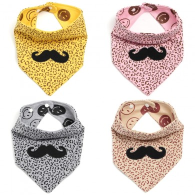 Kid Infant Toddler Baby Feeding Saliva Bib Scarf Triangle Cotton Cleaning Cover Mustache Towel Pinny