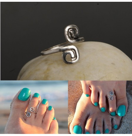 Vintage Bohemian Toe Rings Female Antique Silver Opening