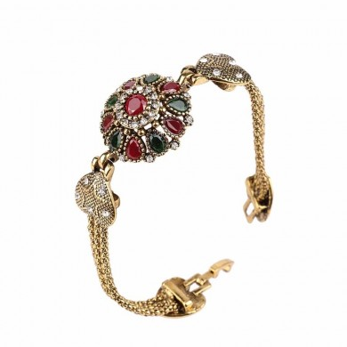 Vintage Cuff Gold Bracelet Colorful Crystal Resin Double