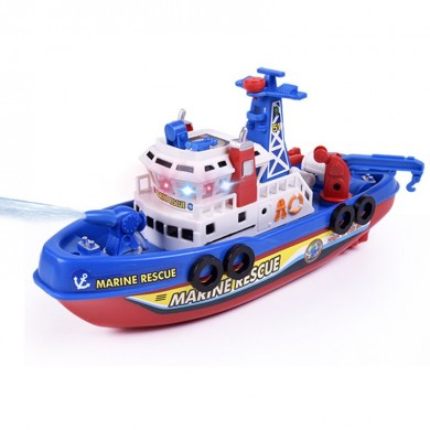 Electric Boat Toy Music Sound Light Glowing Water Spray Model Building Toy