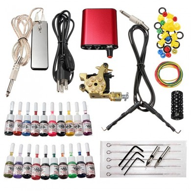 220V Professional Tattoo Machine 20 Colors Ink Power Supply Set Kit