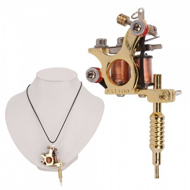 OCOOCOO Golden GS100 Fashion Mini Tatuaje Machine Colgante Juguete con collar de cadena