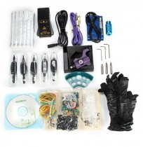 Professional Tattoo Machine Kit Power Supply Handle Pigment Cup With English Teaching CD