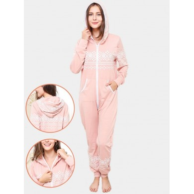 Cotton Printed Front Zip Hooded Jumpsuits