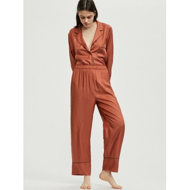 Lapel Silky Soft Langarm-Pyjama mit Button-Down-Loungewear