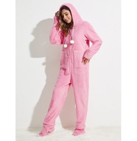 Flannel Long Sleeve Hoodie Jumpsuits With Pocket