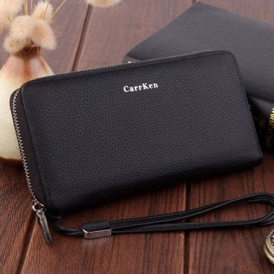 Hengsheng PU Men Zipper Handbag Long Wallet Card Holder Coin Storage Bolsa