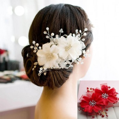 Bride Red White Flower Bridal Wedding Rhinestone Crystal Hair Clips Headpiece Accessories