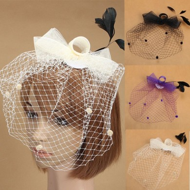 Bride Women Flower Feather Mesh Veil Fascinator Wedding Party Headpieces