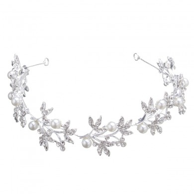 Bride Pearl Rhinestone Leave Shape Headpiece Bridal Hair ornaments Tiara Wedding Accessories