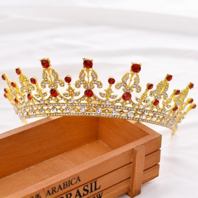 Bride Gold Red Rhinestone Crystal Tiara Crown Princess Queen Wedding Bridal Party Headpiece