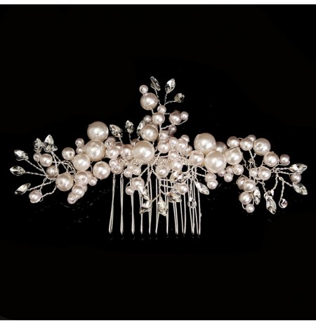Bride Rhinestone Crystal Pearl Hair Comb Elegant Wedding Prom Bridal Headpiece