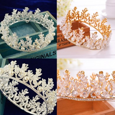 Bride Rhinestone Crystal Pearl Crown Tiara Head Jewelry Princess Queen Headpiece Wedding Accessories