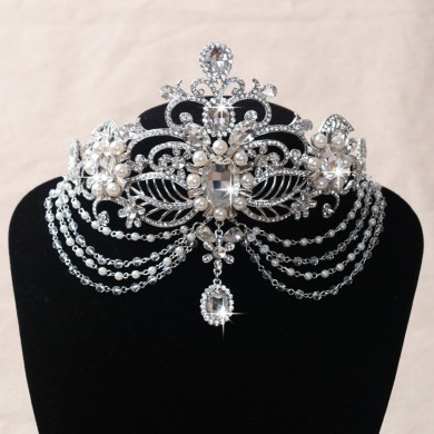 Bride Pearl Crystal Rhinestone Head Pendant Wedding Bridal Headband Hair Accessories