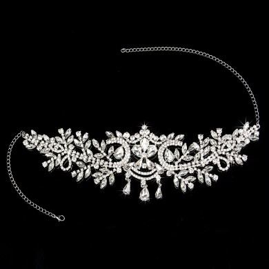 Bride Diamond Silver Crystal Crown Wedding Bridal Tiara Rhinestone Pageant Prom Veil Headband