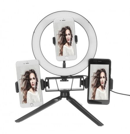 8.7 / 12.6 Inch LED Video Ring Light con soporte 3 Soporte para teléfono regulable Lámpara Maquillaje Youtube