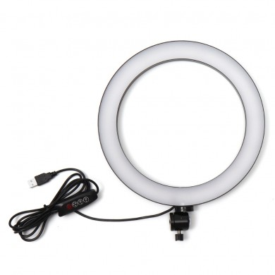 USB 26cm 5500K Video Ring Light con trípode Adaptador de cabeza Clip para teléfono para Youtube Tiktok Live Streaming