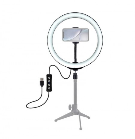 PULUZ PU407 12 Inch 3200K-6500K Regulable LED Video Ring Light con clip para teléfono para Selfie Vlog Tik Tok Youtube Transmisi