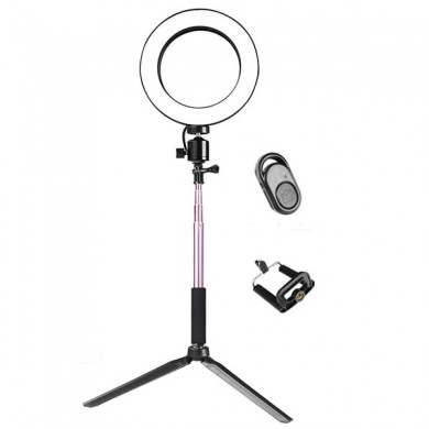Yingnuost 16cm 3500-5500k Video Ring Light con Selfie extensible Palo Soporte trípode Clip de teléfono para Tik Tok Youtube Live