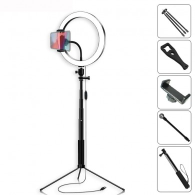 Yingnuost Selfie Stick 5500K Dimmable Video Light 20cm LED Ring Lamp with Phone Holder bluetooth Shutter Wrench for Youtube Tik