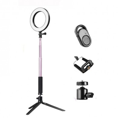 Luz de anillo de video regulable Yingnuost 20cm LED Maquillaje Lámpara con Selfie Palo trípode Obturador bluetooth para Youtube