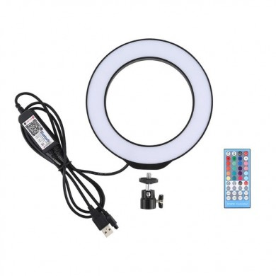 PULUZ PU429B PU429F Regulable 4.7 Inch 16cm RGB RGBW Bluetooth APP Control inalámbrico Video Ring Light con Control remoto para