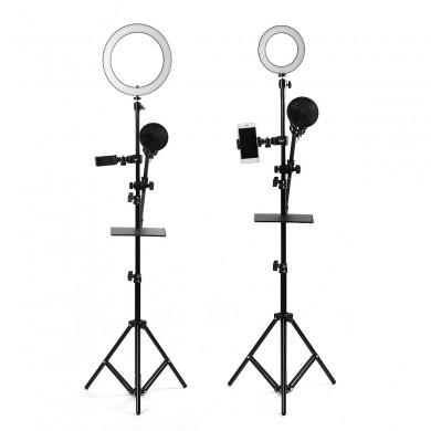 16/25cm Dimmable LED Video Ring Light Tripod Stand with Phone/Mic Holder bluetooth Selfie Shutter for Youtube Tik Tok Live Strea