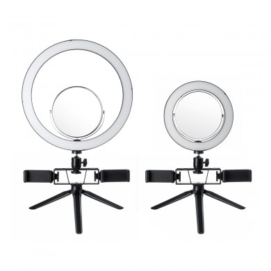8.7/12.6 Inch LED Dimmable Video Ring Light Tripod Stand with Mirror 2 Phone Clip for Youtube Tik Tok Makeup Live Streaming