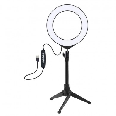 PULUZ PKT3048 RGBW 8 Color 16cm 6.2 Inch LED Video Ring Light with Tripod Stand for Youtube Tik Tok Live Streaming