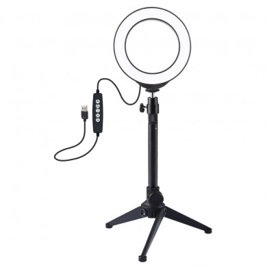 PULUZ PKT3049 12CM 4.6 Inch RGBW 8 colores regulables LED Video Ring Light con soporte trípode