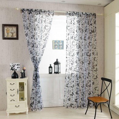 Honana WX-C8 1x2m Moda Butterfly Voile Porta Cortina Painel Window Room Divider Cortina Sheer Home Decor