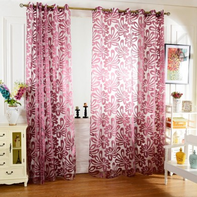 Honana WX-C7 Múltiplas cores Semi-blackout Sheer Cortinas Janela Painel Blind Purple cortinas Home Decor