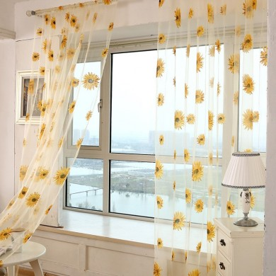 Honana WX-C4 1x2m Sun Flower Voile Cortina Transparente Painel Janela Divider Sala Sheer Cortina Home Decor