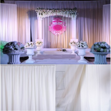 Painel de cortinas de seda brancas Painéis de cortinas de suspensão Contexto Home Wedding Party Decor