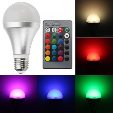 E27 12W RGBW Dimmable Smart Colorful Globe LED Ampoule Télécommande AC85-265V