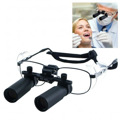 6.0x Magnifier Dental Loupes 45mm Field of View Flip-Up Flexible Optical Glass Loupe Dentistry 25mm Depth of Field Loupe