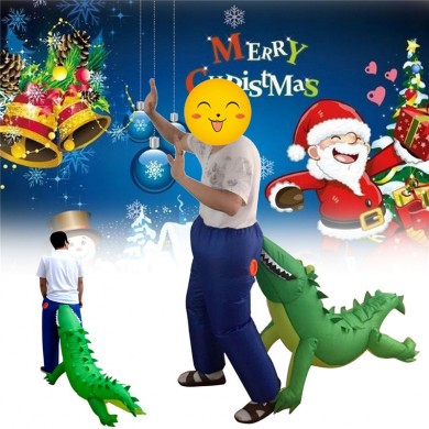 Christmas Party Home Inflatable Crocodile Bite Ass Air Blowing Up Costume Funny Toys For Kids Gift