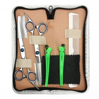 6.8 pulgadas Salon Cabello Cutting Scissors Comb Clips Barber Kit