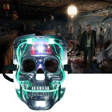 Silver Light Up LED Squelette Skull Rave Mask Halloween Costume Costume Party