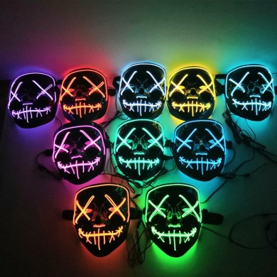 Halloween LED EL Wire Light Up Party Mask pour Cosplay Purge Bloody Funny Costume Ball