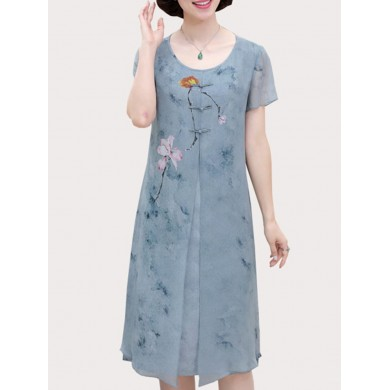 Mujer Fake Two Pieces Floral Print Vestido
