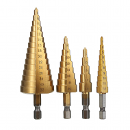 Drillpro 4Pcs 1/4 pouce Hex Shank HSS Titanium Endated Step Drill Bit Set 3-12 / 4-12 / 4-20 / 4-32mm